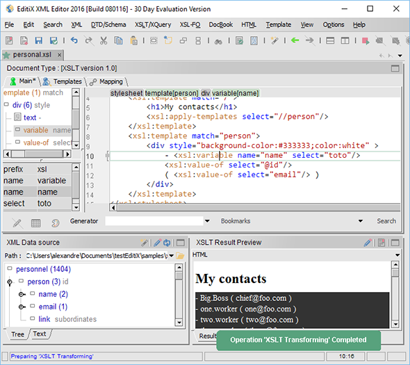 XSLT Editor